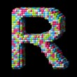 Stock Photo: 3d pixelated alphabet letter R