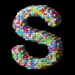 Stock Photo: 3d pixelated alphabet letter S