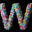 Stock Photo: 3d pixelated alphabet letter W