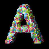 3d pixelated alphabet letter B — Stock Photo