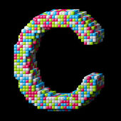 3d pixelated alphabet letter C — Stock Photo