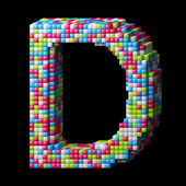 3d pixelated alphabet letter D — Stock Photo