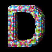 3d pixelated alphabet letter D — Stock Photo