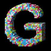 3d pixelated alphabet letter G — Stock Photo