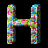 3d pixelated alphabet letter H — Stock Photo