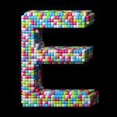 3d pixelated alphabet letter E — Stock Photo