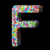 3d pixelated alphabet letter F — Stock Photo