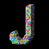 3d pixelated alphabet letter J — Stock Photo