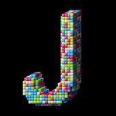 3d pixelated alphabet letter J — Stock Photo