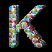 3d pixelated alphabet letter K — Stock Photo