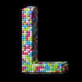 3d pixelated alphabet letter L — Stock Photo