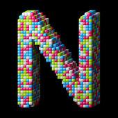 3d pixelated alphabet letter N — Stock Photo
