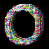 3d pixelated alphabet letter O — Stock Photo