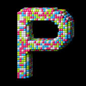 3d pixelated alphabet letter P — Stock Photo