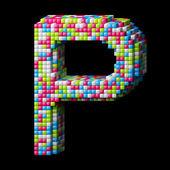3d pixelated alphabet letter P — Stock Photo