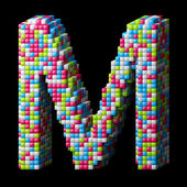 3d pixelated alphabet letter M — Stock Photo