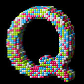 3d pixelated alphabet letter Q — Stock Photo