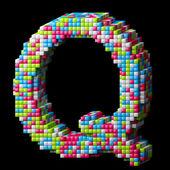 3d pixelated alphabet letter Q — Stock Photo