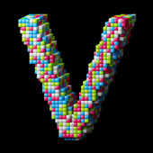 3d pixelated alphabet letter V — Stock Photo