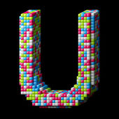 3d pixelated alphabet letter U — Stock Photo