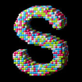 3d pixelated alphabet letter S — Stock Photo