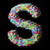 3d pixelated alphabet letter S — Stock Photo