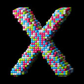 3d pixelated alphabet letter X — Stock Photo