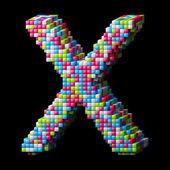 3d pixelated alphabet letter X — Stock Photo