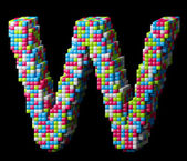 3d pixelated alphabet letter W — Stock Photo