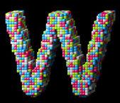 3d pixelated alphabet letter W — Stock Photo