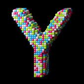 3d pixelated alphabet letter Y — Stock Photo