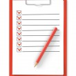 Checklist. Red clipboard and pencil on white — Stock Photo #24970337