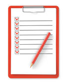 Checklist. Red clipboard and pencil on white — Stock Photo