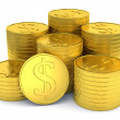 Pile of golden coins with dollar symbol isolated on white background — Stock Photo