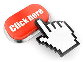 Red button with Click here text and computer hand cursor — Stock Photo