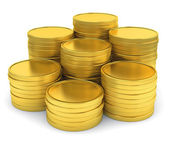 Pile of golden coins isolated on white background — Stock Photo