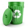 ������, ������: Green recycle trash can with lid 3d