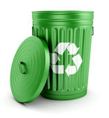 Green recycle trash can with lid 3d — Stock Photo