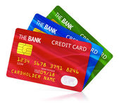 Three color credit cards — Stock Photo