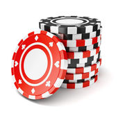 Black and red casino tokens — Stock Photo