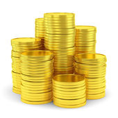 Big group of golden coin stacks — Stok fotoğraf