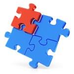 Four assembling puzzle pieces — Stock Photo #34667595