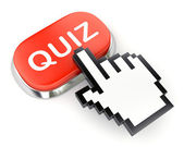 Red button QUIZ and hand cursor — Stockfoto