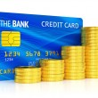 Credit card and graph of coins — Stock Photo