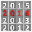 Stock Photo: 2014 new year square shelf with numbers