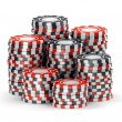 Stock Photo: Big pile of black and red casino tokens