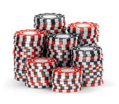 Big pile of black and red casino tokens — Stock Photo