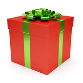 Red gift box isolated on white — Стоковое фото