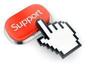 Red button Support and hand cursor — Stock Photo