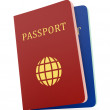 Stock Photo: Two passports isolaed on white